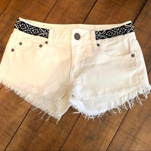 American Eagle cut off white shorts